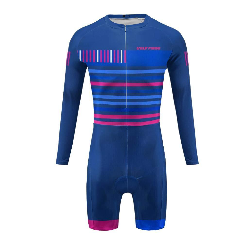 Uglyfrog MTB Herren Triathlon Tri Suit Schnell Trocknender Skinsuit Atem Triathlon Rennanzug Kurzarm/Lange Ärmel Trikots+Kurze Beine DESkinsuit01