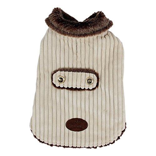 Abrigo para perros Nobleza, acolchado y de pana beige, largo 35cm. Envío gratis.