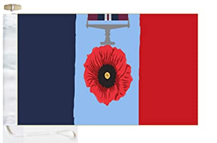Remembrance Day Poppy Joint Services Tricolour Roped /& Toggled 5/' x 3/' Boat Flag