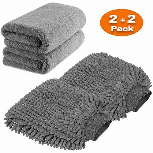 Large Size Car Wash Mitt - Premium Chenille Microfiber Wash Gove and Microfiber Towels - Lint Free - Scratch Free (2X Towels + 2X mitt)