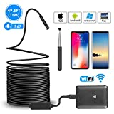 Wireless Endoscope, Ihong 15M IP67 Waterproof WiFi Borescope Inspection Camera 2.0 Megapixels Snake 720P HD 6 Led Lights Security Cable Suitable For Android and IOS Smartphone, iPhone, Samsung, Tablet
