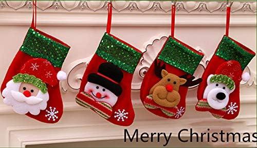ZARRS Weihnachtsstr/ümpfe,4 PCS H/ängende Str/ümpfe Weihnachtsstrumpf Deko Filz-Nikolausstiefel zum Bef/üllen und Aufh/ängen f/ür Weihnachten