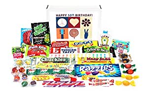 Woodstock Candy 50th Birthday Candy Box - Peace, Love and Happiness - Retro Nostalgic Childhood Memories for a 50 Year Old