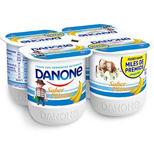 Danone - Yogur Sabor Plátano, Pack 4 x 125 g: Amazon.es: Alimentación y bebidas