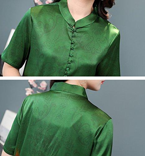 Size S1812 Vintage Midi Cocktail Sleeveless Silk Plus Summer Dress Green Women DISSA w0qBpw