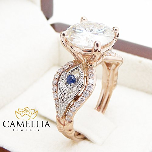 Gold Tone 14k Sapphire Two (10mm Moissanite Engagement Ring 14K 2 Tone Gold Ring with Diamonds and Sapphires)