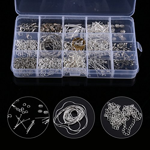 Jewelry DIY Starter Kit, Silver Plated Jewelry Braclets Necklace Chains Clasps+ Pliers+ Cord String