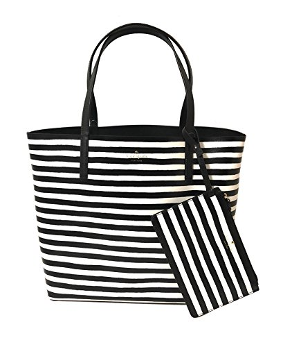 (Kate Spade Arch Place Mya Reversible Leather Tote (Black/White Stripe))