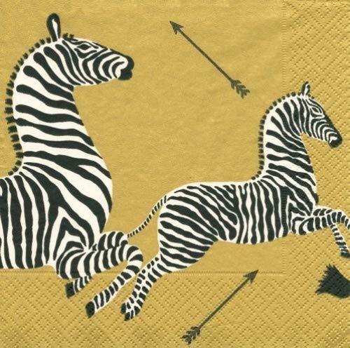 Lunch Luncheon Dessert Paper Napkins Wedding Birthday Jungle Baby Shower Safari Zebra Gold Pk 40 B00LLGERRE  pack of 40
