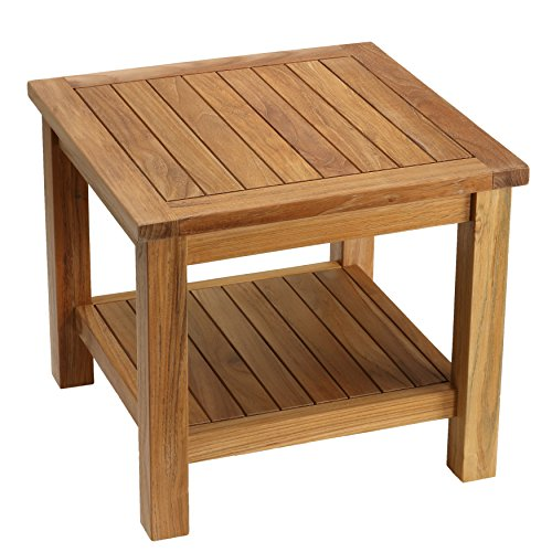 Bare Decor Turi Side Table with Shelf in Solid Teak Wood, Square 20