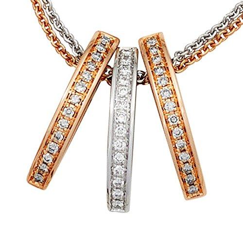 42 Pièces avec pendentif 3 diamants brillants 585 or-femme-rouge/blanc