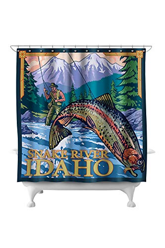 Snake River Idaho Map - Lantern Press Snake River, Idaho -Fly Fishing Scene 13621 (74x74 Polyester Shower Curtain)