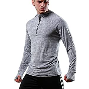 FELiCON® Men's Zip Long Sleeve Hooded T-Shirt Quick Dry Warm-up Sweatshirt Running Jogging Top Tee Mens Clothing Base Layer Sportswear Hoodie (Light Gray, S)