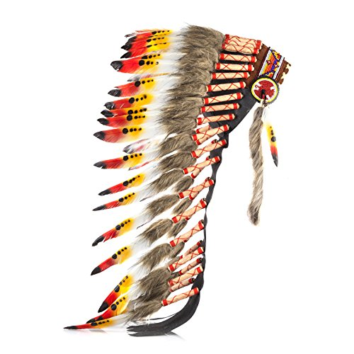 Boho Basics Native American Indian Inspired Feather Headdress Orange Red & White (Length: Medium) (Hat Balinese)