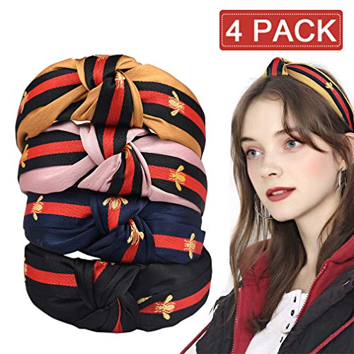 4 Pack Headbands for Women - Green Red Green Stripe Hair Hoop - Cross Knot Hair bands with Bee Animal Cloth Wrapped Hair Accessories for Girls