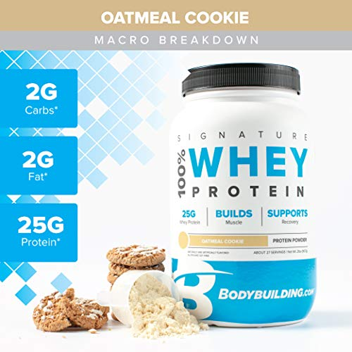 100% Whey Protein Cookies - Bodybuilding Signature 100% Whey Protein Powder | 25g of Protein per Serving (Oatmeal Cookie, 2 Lbs)
