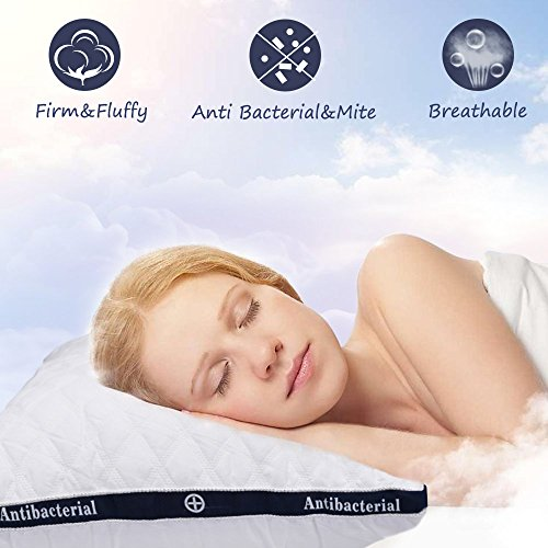 HOMEIDEAS Bed Pillows - (2 Pack King Size) - 100% Cotton Cover and Super Soft Plush Fiber Filled, Down-Alternative Luxury Hotel Pillow, Three-Dimensional Shape, Dust Mite Resistant & Hypoallergenic