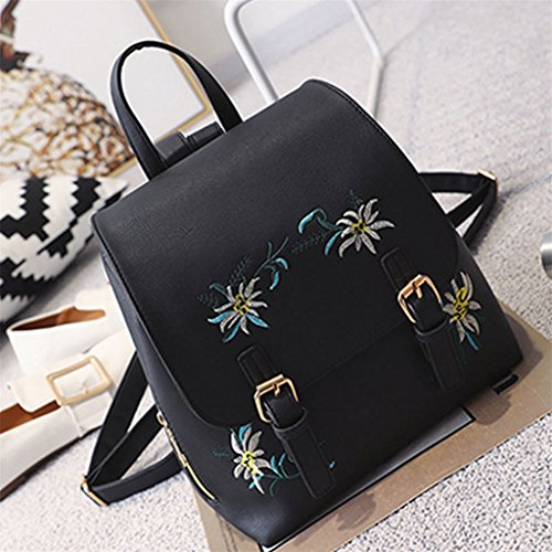 Amazon.com | Butterfly Iron Flower Embroidered Women Leather Backpack School Travel Shoulder Bag | Backpacks