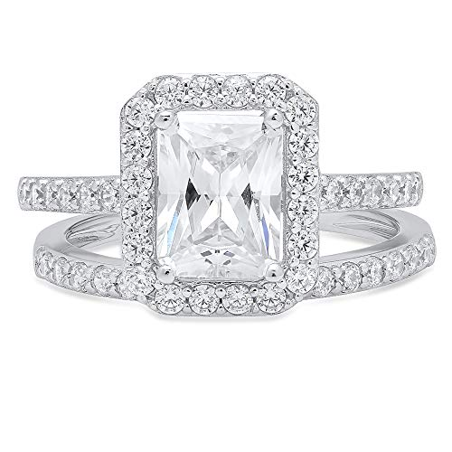 (2.20ct Emerald Round Cut Pave Halo Solitaire with Accent Highest Quality Moissanite & Simulated Diamond Engagement Promise Statement Anniversary Bridal Wedding Ring band set Real 14k White Gold Sz 7)