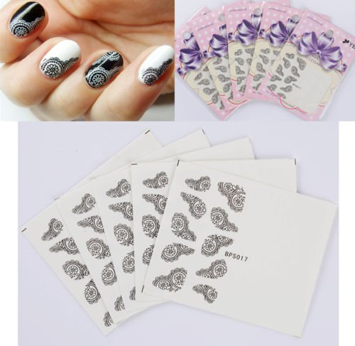 Gozebra(TM) 5sheets/Set Nail Water Transfer Decals Sticker White Black Lace Flowers Design