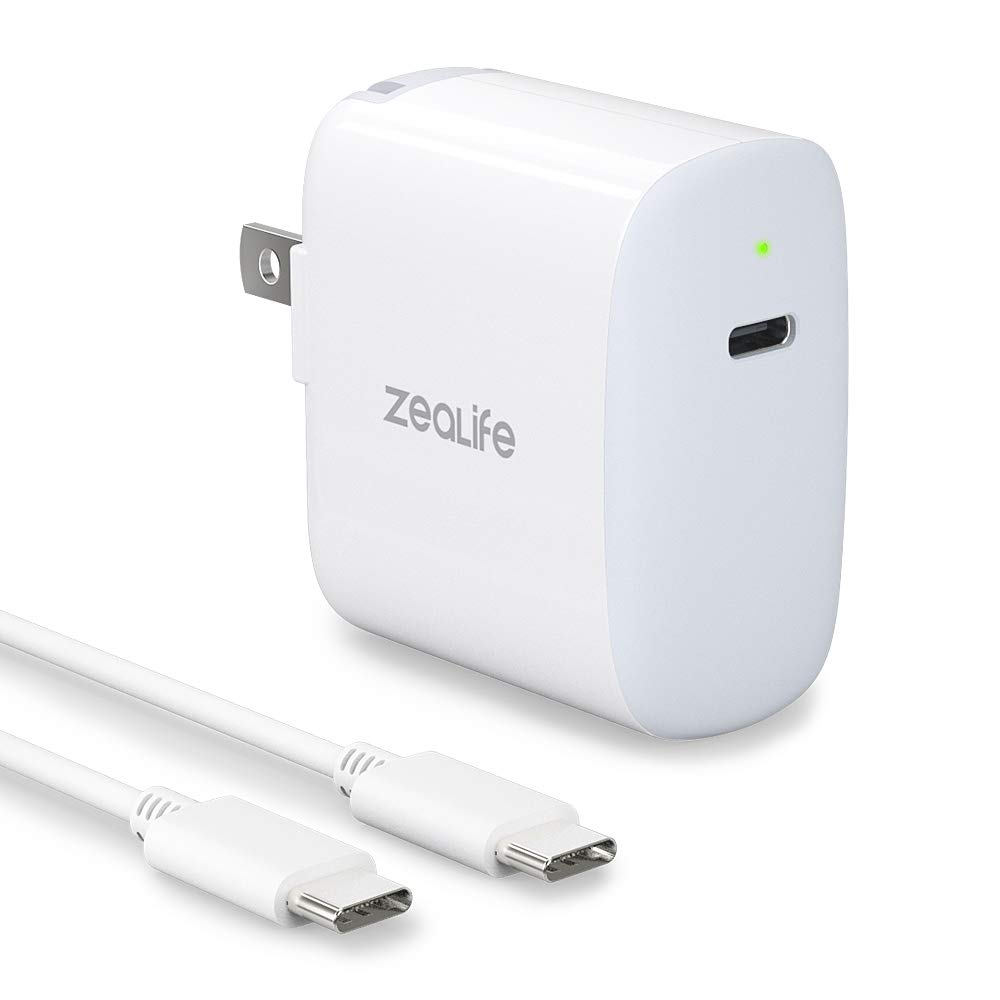 USB-C Fast Charger, ZeaLife 18W USB-C PD Power Adapter, Wall Charger with Foldable Plug for Google Pixel 4/4XL/3/3XL, iPad Pro 2018, Galaxy S10/Note 10 Plus, iPhone 11 Pro/11/X and More by ZeaLife