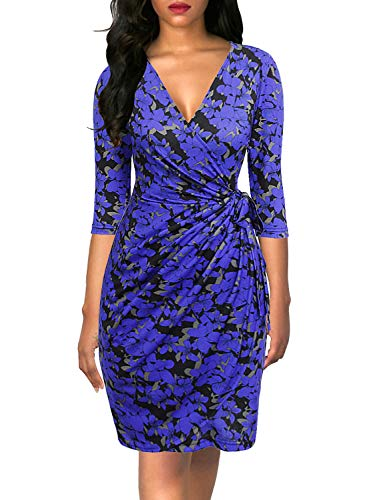 Berydress Women's Classic 3/4 Sleeve V Neck Sheath Casual Party Work Faux Black Wrap Dress (M, 6083-Blue Floral)