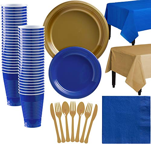 Party City Gold and Royal Blue Plastic Tableware Kit for 50 Guests, 487 Pieces, Includes Plates, Napkins, and Utensils ()
