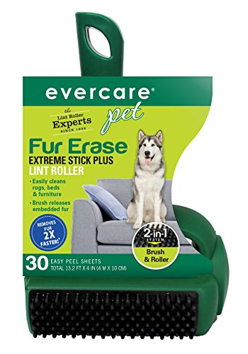 Sticky Sheets Pet Hair Removal - Evercare Pet Fur Erase Extreme Stick Plus 30 Sheet Lint Roller