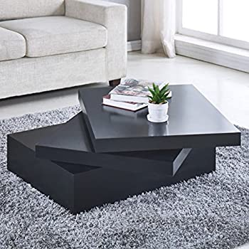 Black Square Contemporary Extendable Organizer Sofa Side End Reading Homework Rotating Modern Coffee Table 33.426.716.9 Inch Office Living Room Furniture