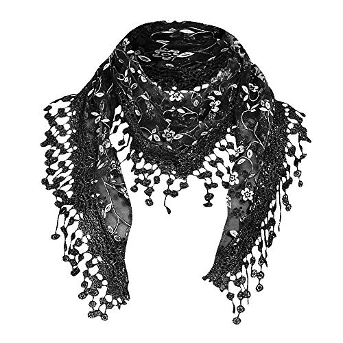 Delicate Light Weight Lace Womens Elegant Infinity Scarf with Teardrop Tassel Fringes Wraps (Black B)