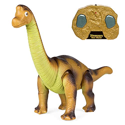 Best Choice Products 17.5in Kids RC Stomping Brachiosaurus Dinosaur Electric Animal Toy Robot w/ Light Up Eyes, Roaring Sounds, Swinging Head, Remote Control ()