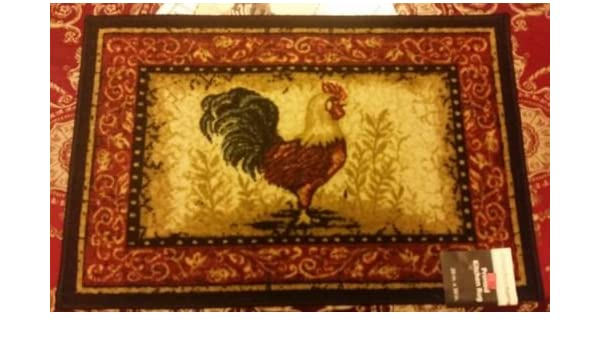 The Pecan Man BON APPETIT ROOSTER PRINTED NYLON KITCHEN RUG ,1Piece 18x30 non skid latex back