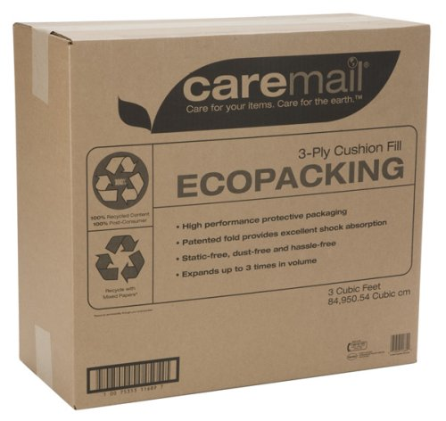 - Caremail EcoPacking Recycled 3-Ply Cushion Fill Protective Packaging Filler, 3 Cubic Feet (1118682)