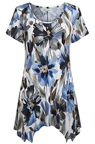 - Nandashe Business Office Shirts for Women, Womans Casual Loose Flower Printed Comfortable Slimming Fit Ruffled Handkerchief Flare Hem Tunic Tops for Work Plus Size Floral Attire Blue White XX-Large
