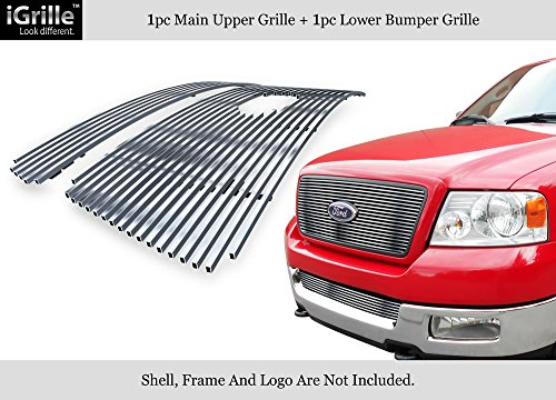 APS 304 Stainless Steel Billet Grille Grill Combo Fits 04-05 Ford F-150 Honeycomb #F67994C