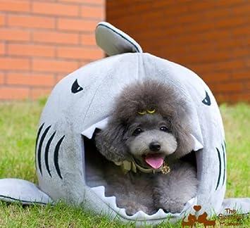 MeMoreCool casa interior/exterior suave perro gato cachorro de perro redonda de tiburones casa Teddy