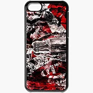 Personalized iPhone 5C Cell phone Case/Cover Skin Lebron james lebron james nba miami heat backgrounds basketball Black