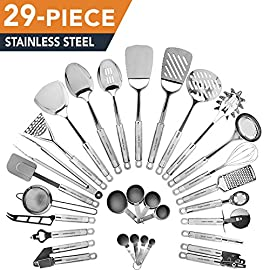 HomeHero Kitchen Cooking Utensils Set - Kitchenware 29-Pieces Stainless Steel Cookware Gadgets including Spatula, Measuring Cups and Spoons 27