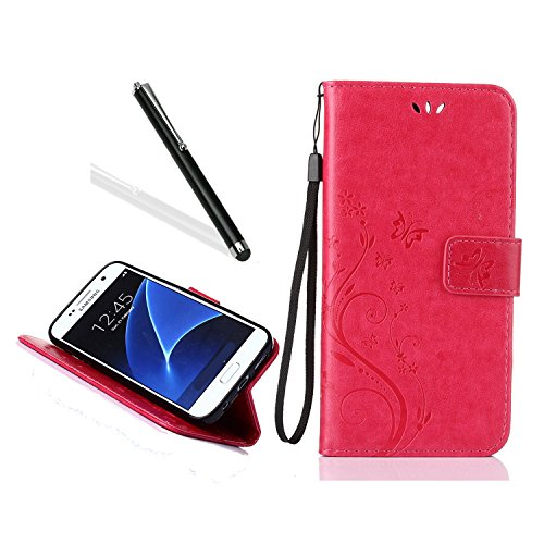 Galaxy J7 Prime Leather Case,Leecase Retro Elegant Red Embossing Butterfly Flower PU Leather Fold Wallet Credit Card ID Holders and Strap Book Style Case Cover for Samsung Galaxy J7 (Gliter Flower)