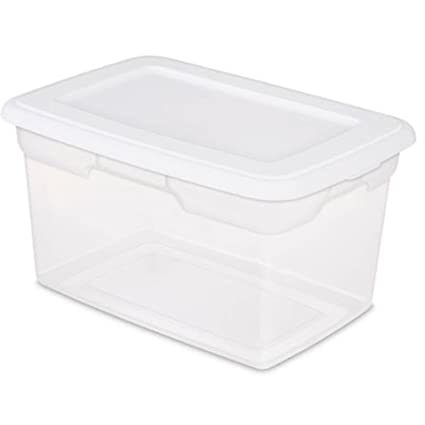 20 Quart Stackable Sterilite Storage Bins, Clear Box With White Lid. Ideal  For Closets