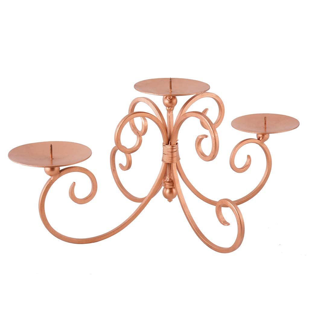 Beautiful Rose Copper Ornate Scroll Cast Iron Three Pillar Candle Display. Perfect Centre Piece for a Dinner Party or a Gift - H 10 x W 33 x D 9.5 cm Dibor