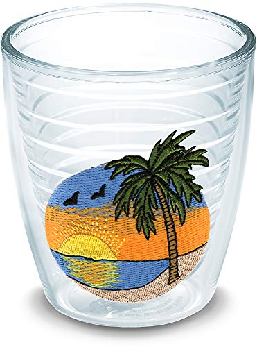 Tervis 1035729 Palm Tree Scene Tumbler with Emblem 12oz, Clear -