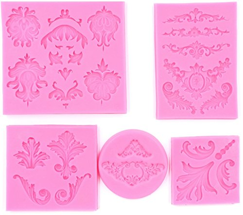 Clay Lace - PalkSky Baroque Style Curlicues Scroll Lace Fondant Silicone Mold for Sugarcraft, Cake Border Decoration, Cupcake Topper, Jewelry, Polymer Clay, Crafting Projects, 5 in Set