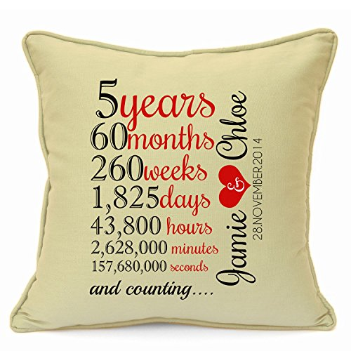 Personalized Presents Gifts For Him Her Husband Wife Couples Girlfriend Boyfriend Wedding Anniversary Birthday Valentines Day Christmas Xmas New Home 5 Years Count Cushion With Inner 18 Inch 45 Cm