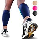 Calf Compression Sleeves by SPARTHOS (Pair) – Leg Compression Socks for Men and Women – Shin Splint Calf Pain Relief Calves Blood Circulation Sports Support Running Walking Cycling Yoga (Blue-XL)