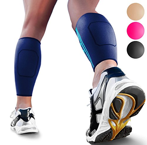Calf Compression Sleeves by SPARTHOS (Pair) - Leg Compression Socks for Men and Women - Shin Splint Calf Pain Relief Medical Leg Pain and Cramps Recovery Varicose Veins (Blue-M)