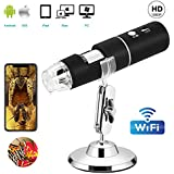 WiFi Digital Microscope, VSATEN Built in Wireless Microscope Camera 1080P HD 2MP 50x to 1000x Magnification Endoscope 8 LED Android, iOS, Smartphone, Tablet, Widows, iPad, Mac PC (Black)
