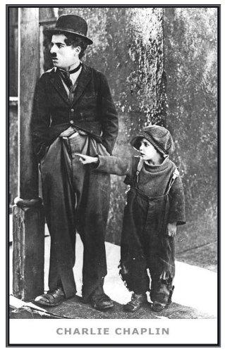 (22 x 34) Charlie Chaplin The Kid Framed Poster - Quality Black Metal Frame ()