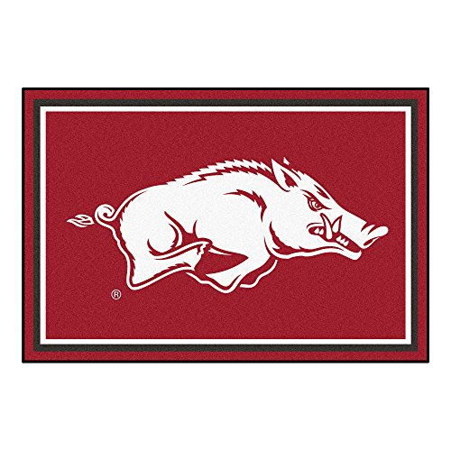 FANMATS NCAA University of Arkansas Razorbacks Nylon Face 5X8 Plush Rug ()