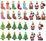QTMY 30 Pcs Christmas Tree Stocking Santa Claus Wooden Clip Hanging Photos with Twine Decoration Supplies Favors (Christmas Wooden Clip)